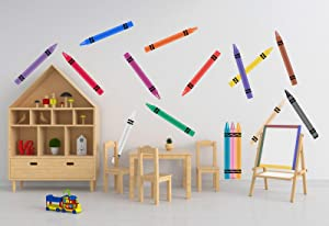 Crayon Wall Stickers: 16 Giant Colorful Crayons Set ( Multicolor Wall Art Decals, Decor for Kid Playroom) - 16.5 inches Tall