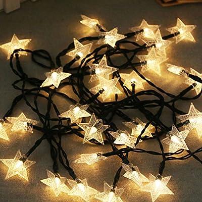 gainvictorlf Solar 30 LED Star Shape Fairy String Light Outdoor Tree Garden Christmas Decor - Warm White