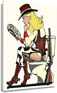 CXYZDY Cowgirl Sitting on Toilet Funny Poster Decorative Kitchen Painting Prints Wall Art Decoration for Bedroom Giclee Canvas Artwork for Office