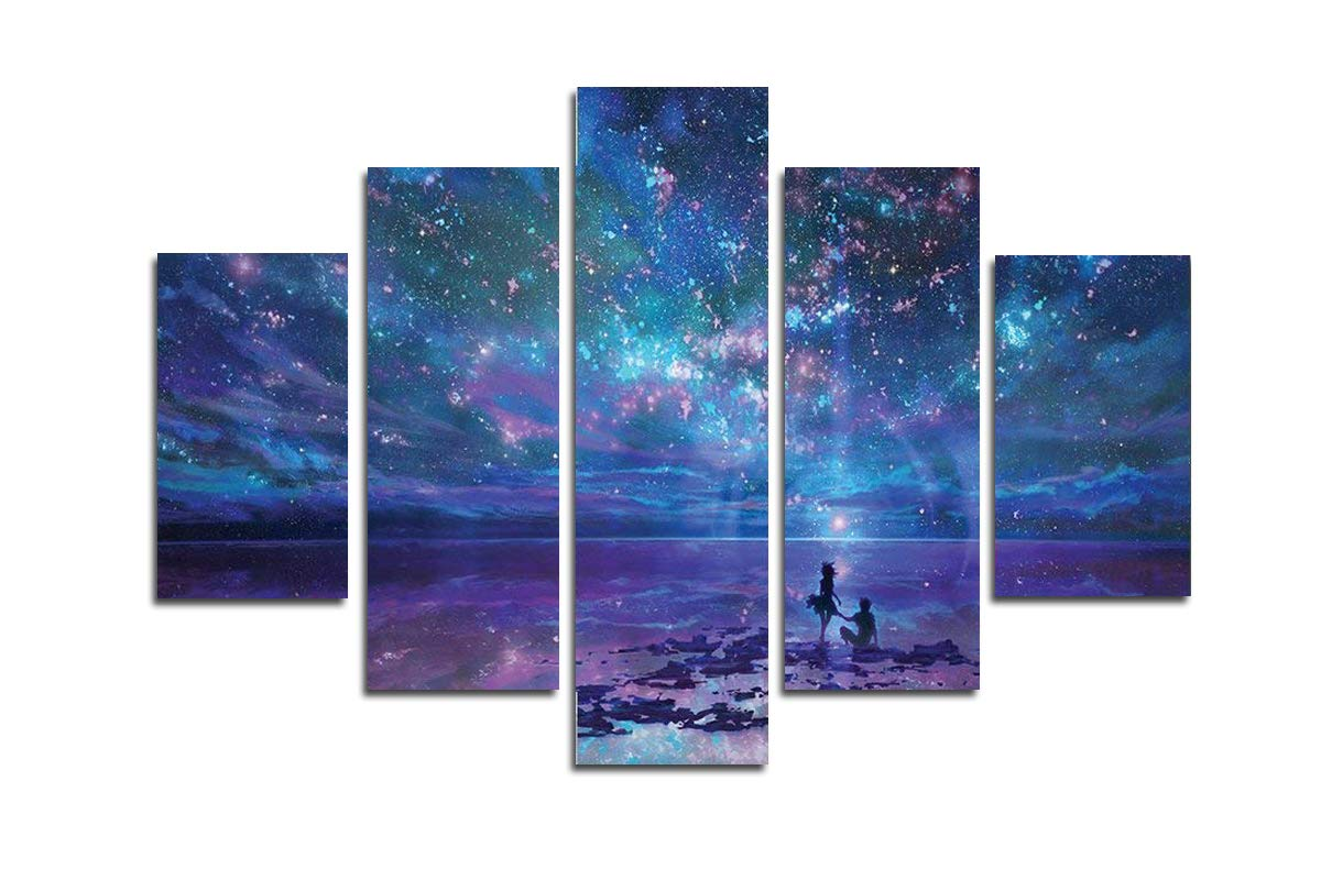 Blxecky DIY 5D Diamond Painting Cross Stitch Crafts Kit, 5 sets of splicing paintings. Home living room decoration. Starry sky by Blxecky