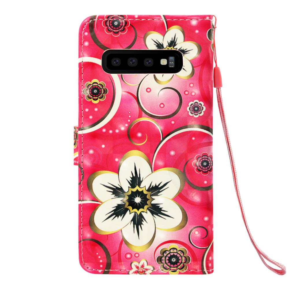 Amocase Wallet Leather Case with 2 in 1 Stylus for Samsung Galaxy S10,Premium 3D Printed Magnetic PU Leather Card Slot Stand Fold Flip Case with Wrist Strap Red Butterfly