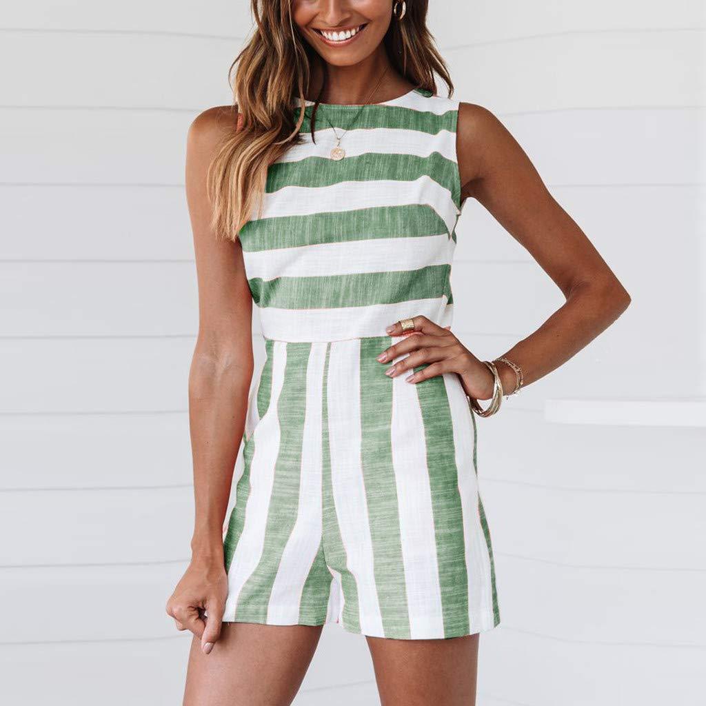 UONQD Women Fashion Boho Stripe O-Neck Ladies Casual Sleeveless Short Jumpsuit