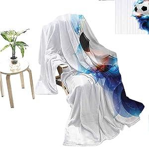 "Miles Ralph Sports Decor Velvet Plush Blanket Soccer Ball Surrounded by Art Graphic Inspirational Petals Football Game Theme Super Soft Warm Blanket 70""x60"" Dark Blue White and Black"