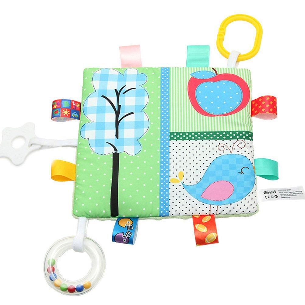 Car Seat Stroller Toys YeahiBaby Animal Teething Blanket Toys BPA Free Newborn Baby Crinkle Toys Cute Baby Rattle Teething Toys Bear and Apple