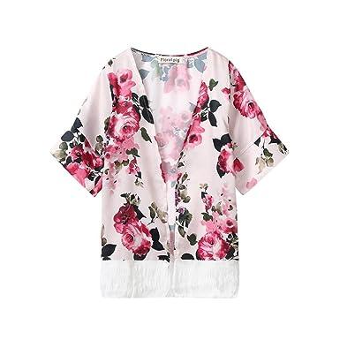 198a074c2 Amazon.com  Winsummer Baby Girl Floral Print Jacket Tassel Chiffon ...