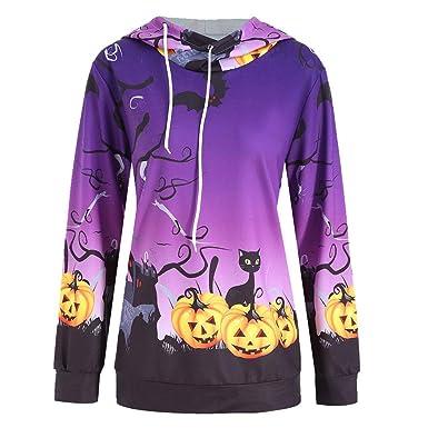 1a7486dadfa Women Hooded Halloween Sweatshirt Vovotrade Women Classic Pumpkin Devil  Print Hoodie Pullover Strings Long Sleeve Tops