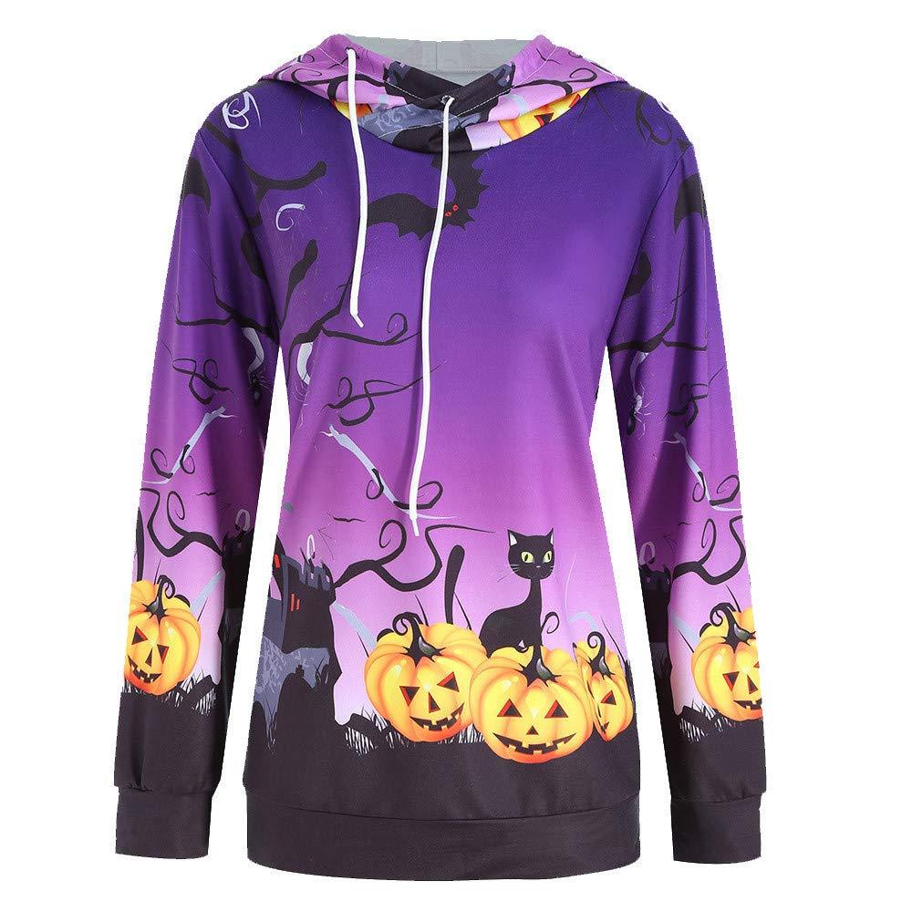 kaifongfu Ladies Long Sleeve Hoodie with Pumpkin Print Women Sweatshirt Pullover Tops (Purple,S)
