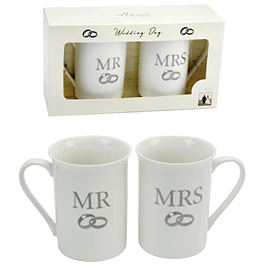 pair of fine bone china wedding gift mugs mr u0026 mrs