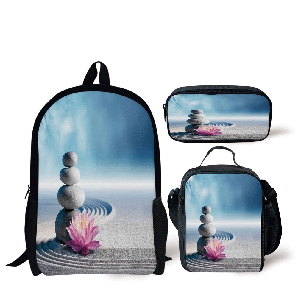 iPrint School Lunch Pen Bags,Spa Decor,Stones and Lotus Flower over Sand Meditation Harmony Balance Flourish Your Spirit Theme,Grey Blue Pink,3 Piece Set
