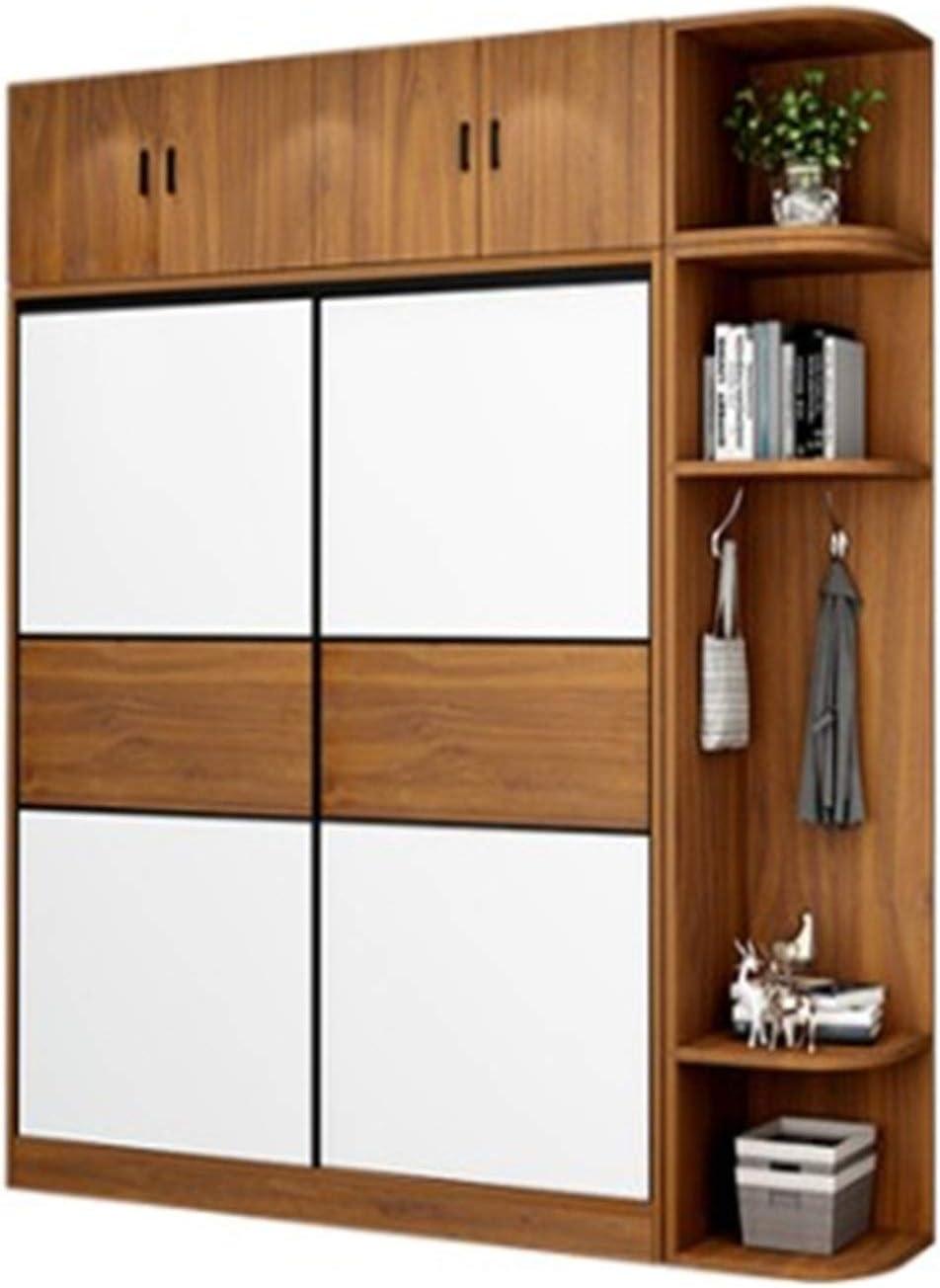CHENSHJI Armario Hogar Dormitorio Moderno Minimalista Sala de Alquiler con apartamento pequeño gabinete de Puerta corredera Armario de Puerta (Color : Marrón, Size : 200x50x120cm)