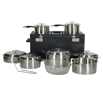 Artmétal - Batería de cocina de 15 piezas con asas extraíbles y maleta con ruedas de calidad profesional: Amazon.es: Hogar