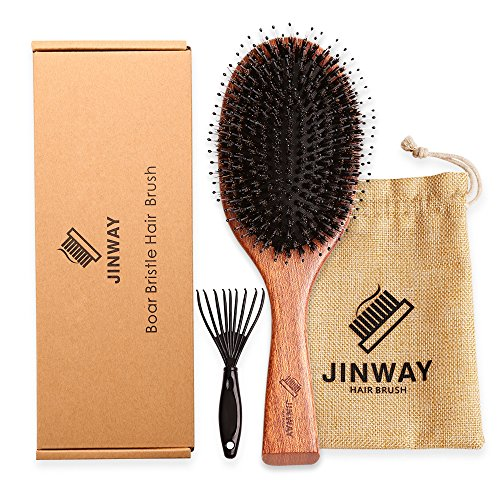 Wooden Boar bristle hair brush Large Paddle hair brush Mixed with Nylon Pin for men and women kids Soft massage Natural Large for Styling, Straightening, Long,Thick,Thin,Damaged Hair, gift set by JINWAY
