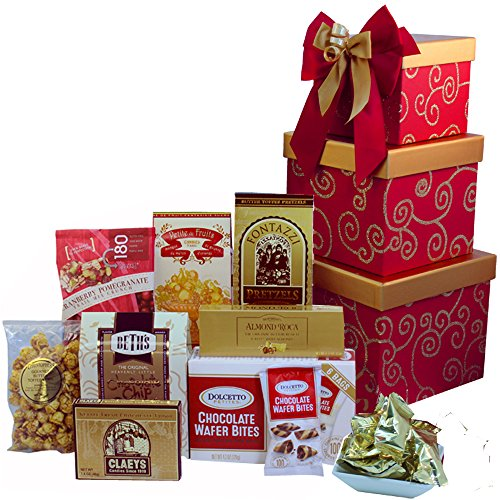 Art of Appreciation Gift Baskets Sweet Sentiments Cookie, Candy and Snacks Gift Tower (Red)