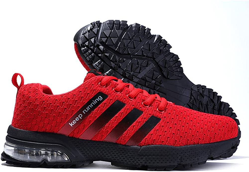 42 EU Rouge Senbore Chaussures de Sport Basket Running Respirantes Athl/étique Sneakers Course Fitness Tennis Homme
