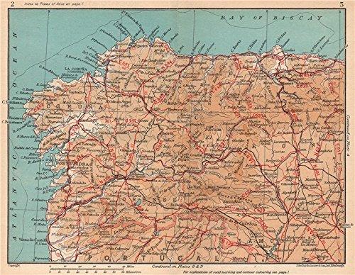 Amazon.com: NORTH WEST SPAIN. Vintage map plan. Galicia ...