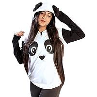 EVOGUESTORE Girl's Cotton Panda T-Shirt with Faux furr Ball