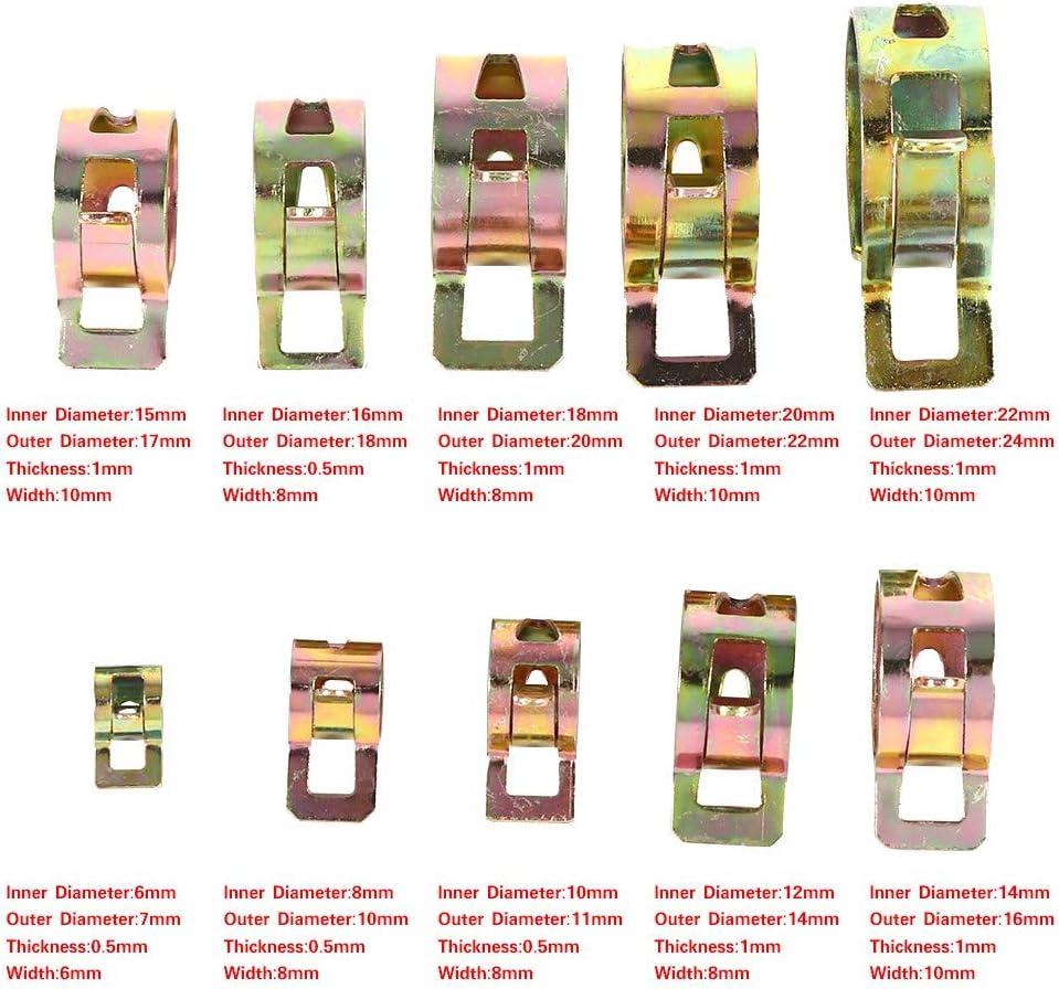 Clip Spring 100 pi/èces 10 Tailles Voitures Clip /à Ressort Carburant Carburant Tuyau deau Collier de Serrage Collier de Serrage