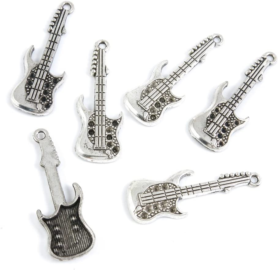 4 AS011 20 or 50 BULK pcs Silver Electric Guitar Musician Charms-US Seller