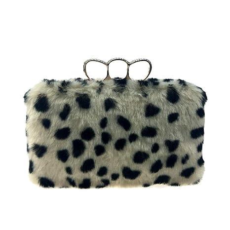 ZTDXCL Bolsas de Embrague para Mujer Felpa Leopardo Cadena ...
