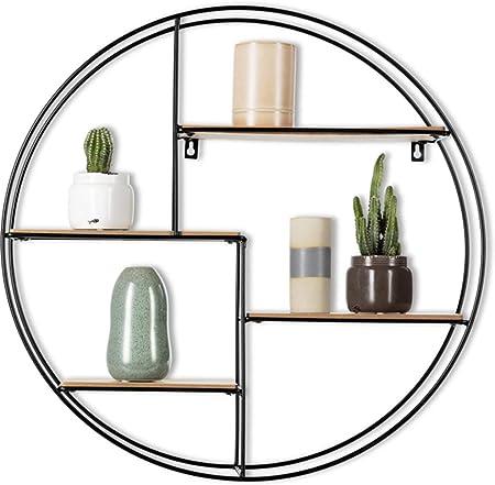 Intimo Living Etagere Murale Ronde Avec 4 Tablettes Bois Et Fil Metal Noir Style Moderne Et Geometrique Pour Chambre Salon Sejour Cuisine
