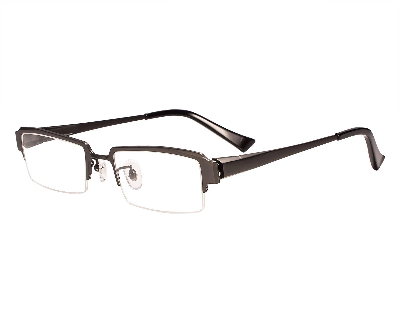 Agstum Pure Titanium Half Rim Optical Business Glasses Frame Clear Lens Rx (Gunmetal, 52)