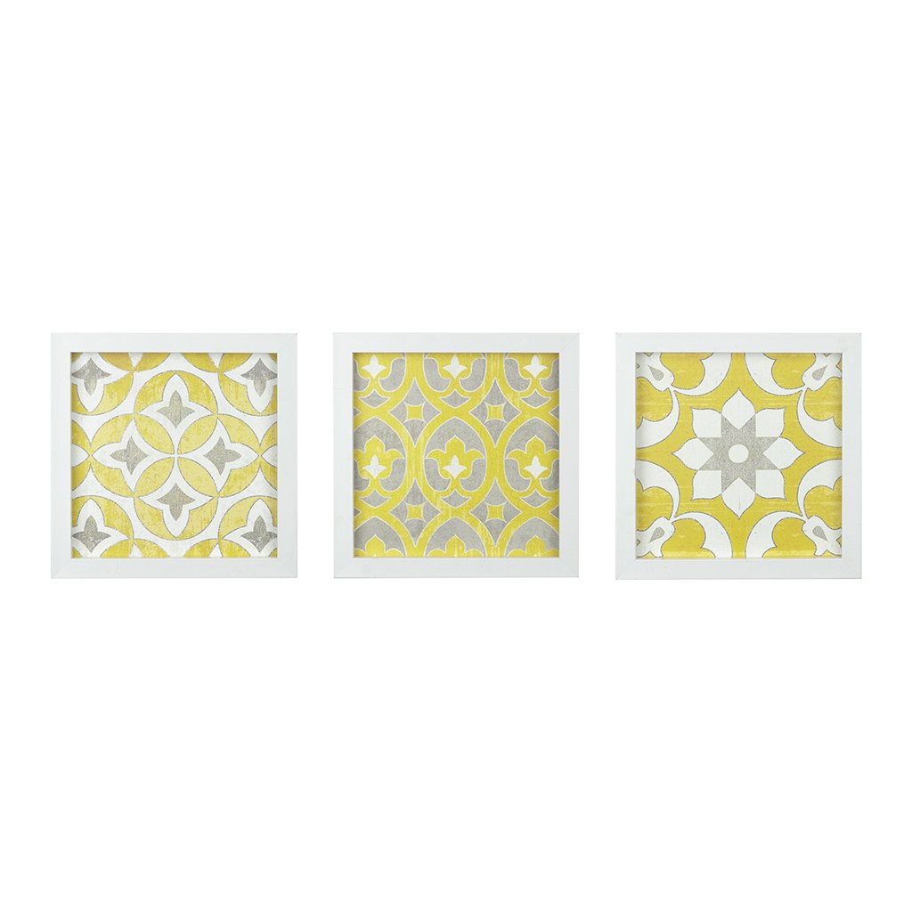 Madison Park Heart Strings 3 Piece Set Wall Art - Tuscan Tiles Framed Gel Coated Canvas Modern Bohemian Design Multi Panel Abstract Global Inspired Painting Living Room Accent Décor, 12''x12'', Yellow by Madison Park