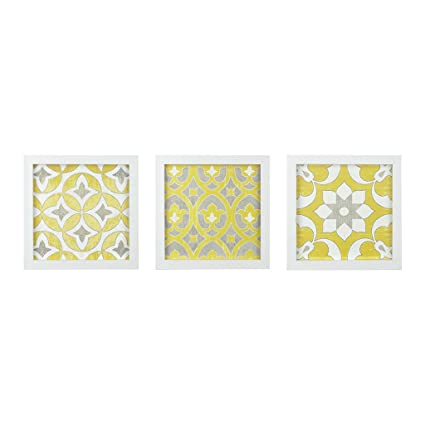 0883eac082c Amazon.com  Madison Park Tuscan Tiles Framed Gel Coated Paper Set of 3  Yellow See Below  Posters   Prints