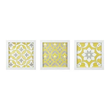 Madison Park Heart Strings 3 Piece Set Wall Art - Tuscan Tiles Framed Gel  Coated Canvas Modern Bohemian Design Multi Panel Abstract Global Inspired