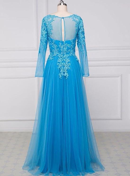 Beauty-Emily Prom Dresses Womens Long Sleeves Long Blue Lace Dresses Plus Size Blue, Size US 12: Amazon.co.uk: Clothing