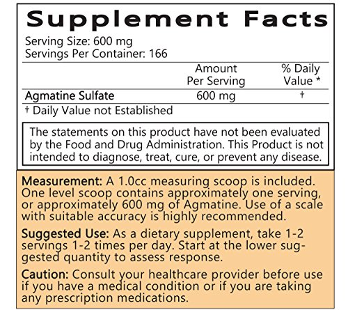 LiftMode Agmatine Sulfate Powder Supplement - for Bodybuilding & Pre  Workout | Vegetarian, Vegan, Non-GMO, Gluten Free - 100 Grams (166 Servings)