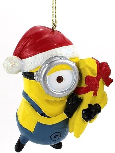 amazoncom kurt adler 35 despicable me minion carl with gift wrapped bananas christmas ornament home kitchen - Minion Christmas Ornament