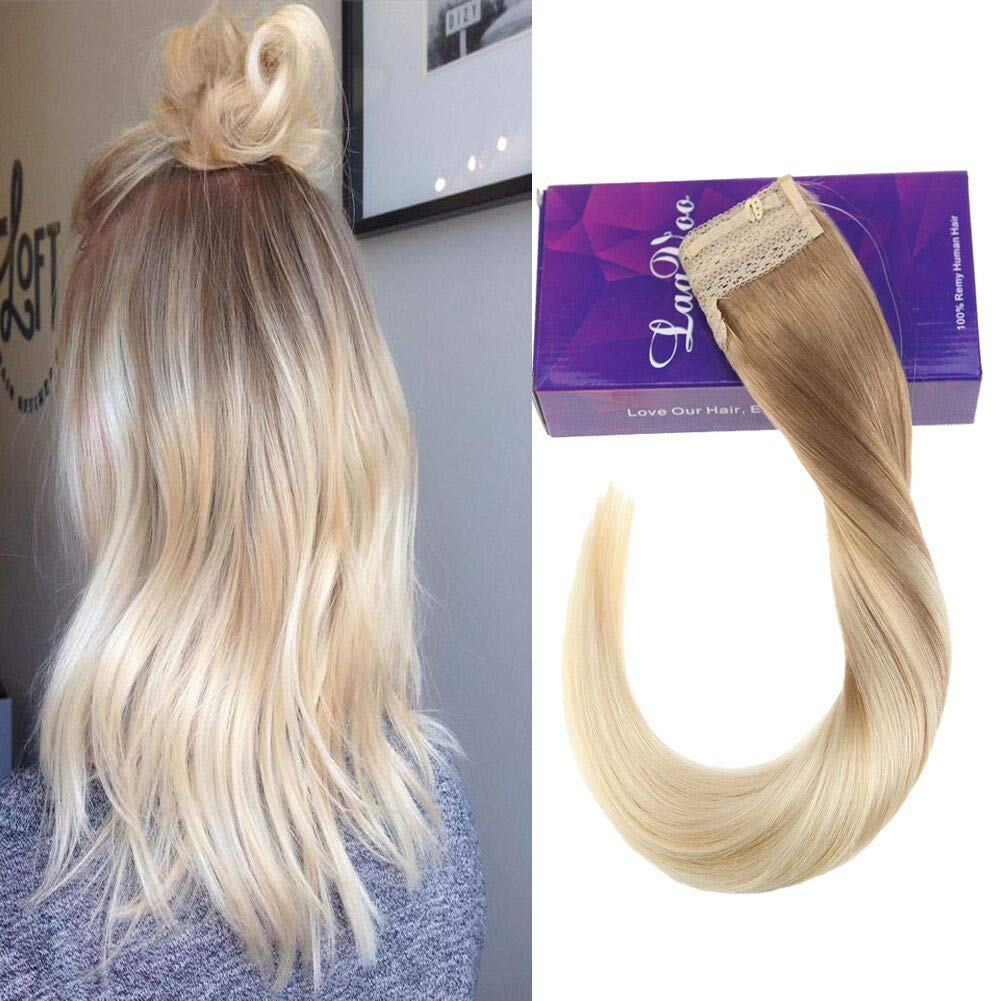 LaaVoo 16 Inch Adjustable Invisible Wire Halo Human Hair Extensions Highlight Color #18 to Color #613 Blonde Flip on Invisible Double Weft 80g Hairpiece Weihai LaaVoo CO. LTD