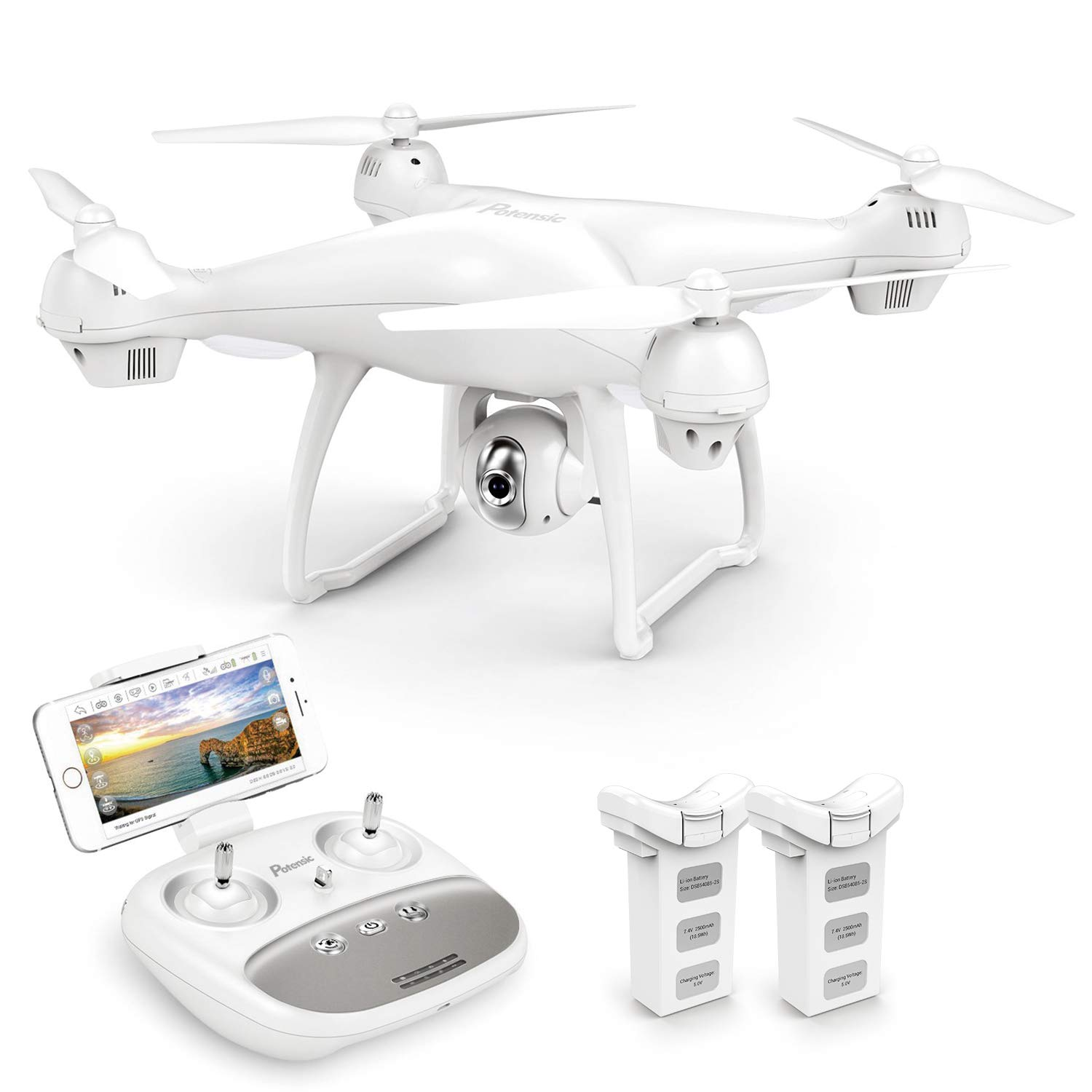 Potensic T35 GPS Drone, RC Quadcopter with 1080P Camera FPV Live Video, Dual GPS Return Home, Follow Me, Altitude Hold, 2500mAh Battery Long Control Range, 2 Batteries by Potensic