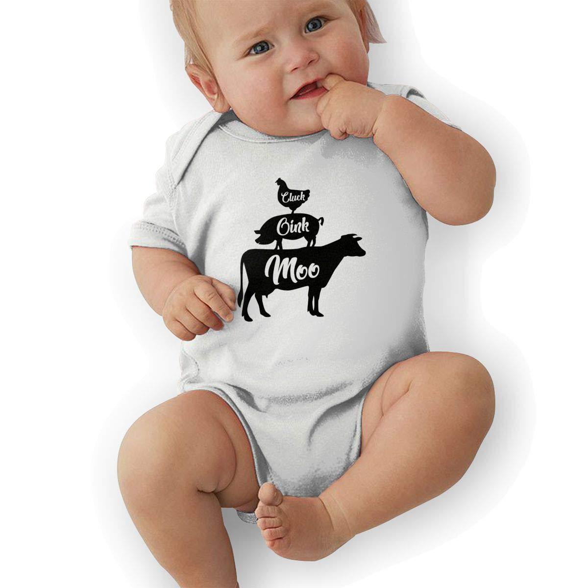 Newborn Baby Short Sleeve Organic Bodysuit Cow Pig Chicken Infant Romper Jumpsuit