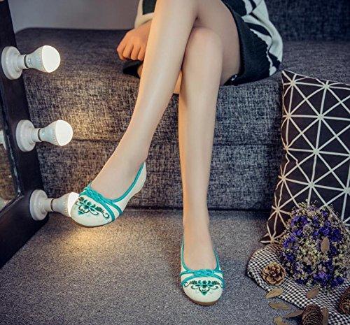 WXT Zapatos bordados, lenguado de tendón, estilo étnico, zapatos de tela femenina, moda, cómodo, casual Green