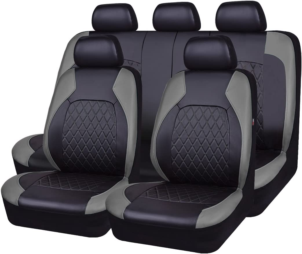 HORSE KINGDOM Universal Car Seat Covers Faux Leather Full Seat 11 pcs Airbag Compatible Breathable Black with Blue