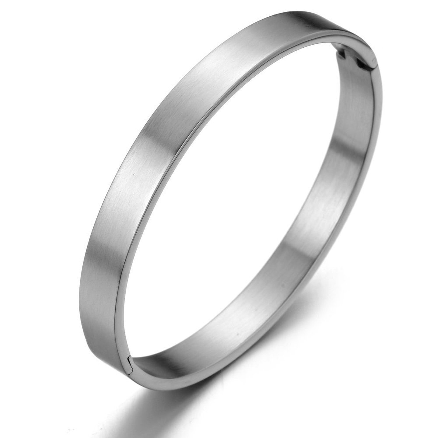 Classic Stainless Steel Bangle Bracelet for Men for Women Silver Color Satin COOLSTEELANDBEYOND MB-380-CA