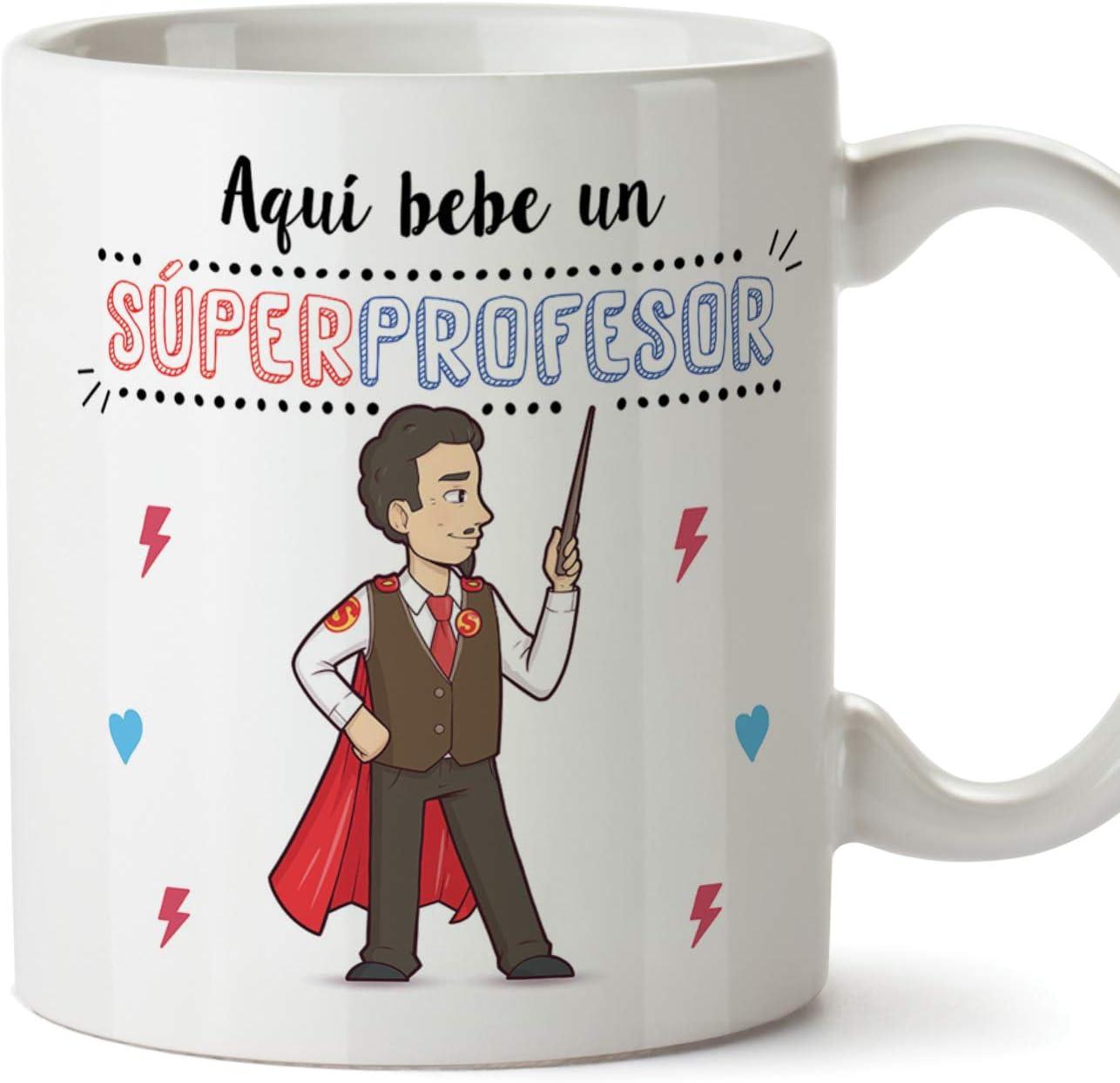 MUGFFINS Taza Profesor (Hombre) - Súper Profesor - Taza de Café/Desayuno - Regalos Originales para Profesores y Maestros - Cerámica 350 ml / 11oz