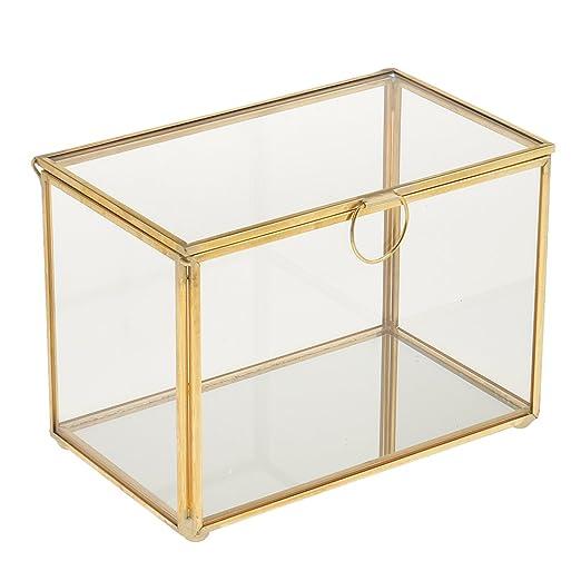 Dovewill - Joyero de cristal geométrico con ventosas para mesa, 17 ...