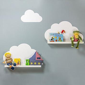 Limmaland Wandtattoo Wolken passend für Deine IKEA RIBBA / MOSSLANDA  Bilderleisten (Farbe Weiß) - Babyzimmer Kinderregale