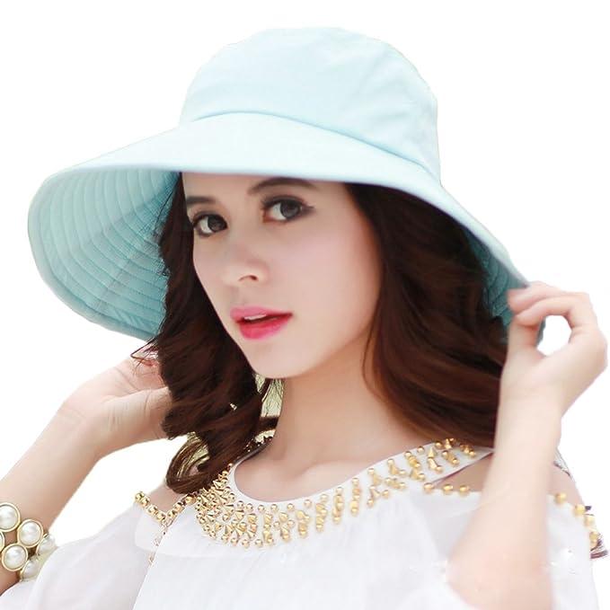 CACUSS Ladies Summer Bucket Hats Casual Brimmed Beach Sun Hat UPF 50+ Sun  Shade Cap 4a95e477c58