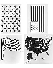 Plantilla de plástico con diseño de bandera estadounidense para pintar sobre madera,tela, papel