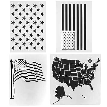 Amazon De Stern Schablone Kunststoff Amerikanische Flagge