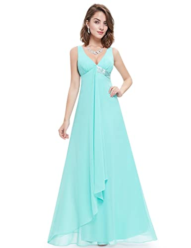 Ever Pretty V-Neck Flowy Ribbon Sequined Waist Long Party Dress 09981