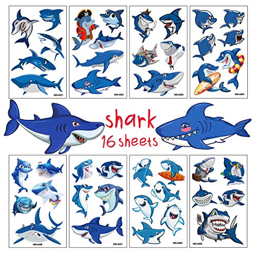 Shark Tattoos for Kids Birthday Party Supplies Temporary Tattoos Shark Party Favors 16 Sheets]()