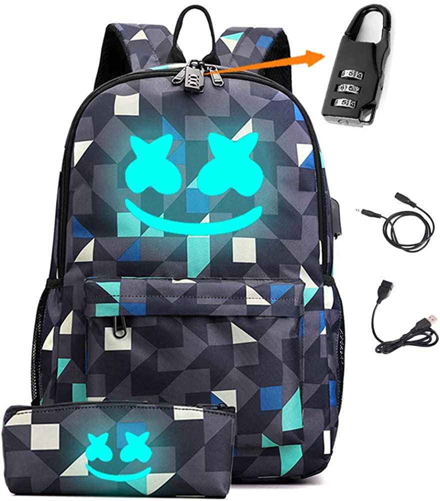 Smile Luminous Backpack with USB Charging Port & Anti-theft Lock & Pencil Case for School Travel Daypack