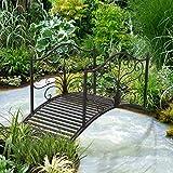 4' Metal Decorative Garden Bridge Arc Walkway Side Rails Scrollwork Backyard Pond Stream Outdoor Lawn Decor Black Bronze