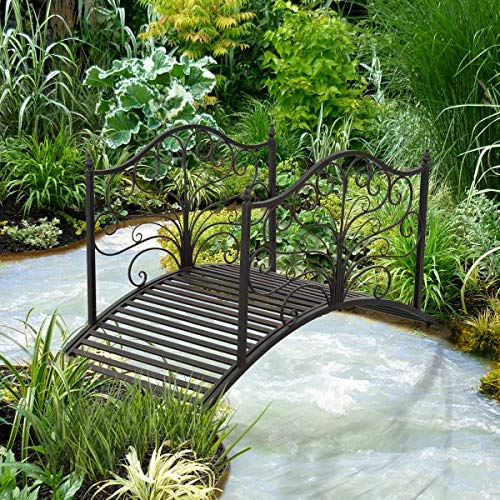 4' Metal Decorative Garden Bridge Arc Walkway Side Rails Scrollwork Backyard Pond Stream Outdoor Lawn Decor Black Bronze by Outdoor Luxury (Image #8)