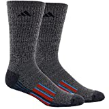 adidas Men's Climalite X Ii Crew Socks (2 Pack), Tech Grey Black Marl/Solar Blue/Craft Chili, One Size