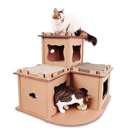 WEATLY Cartón Reciclable Gato Casa Scratcher Gato Casa Garra Juguete Gato Escalada Marco Gato Condominios (